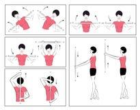 Vektorset körperliche Übungen zum sich zu entspannen Stockfotografie