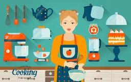 Vektorset Küchenbedarf Illustration herein kochen Lizenzfreies Stockbild