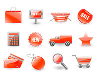 Vektorset rote Einkaufenikonen Lizenzfreie Stockfotos