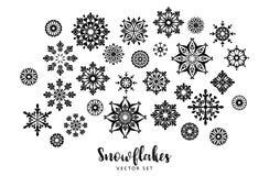 Vektorset Schneeflocken Vektorbild, Abbildung Stockbilder