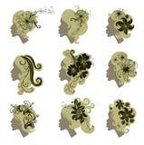 Vektorset Weinlesemädchenhaar mit Blumen Lizenzfreie Stockfotos