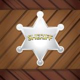 Vektorsheriffs emblem på en träbakgrund. vektor illustrationer