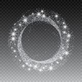 Vektorsilberfunkelnkreis-Zusammenfassungshintergrund, Silber funkelt auf weißem Hintergrund, Silberfunkeln-Kartendesign stock abbildung