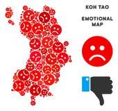 Vektorsinnesrörelse Koh Tao Thai Island Map Mosaic av ledsna Emojis vektor illustrationer