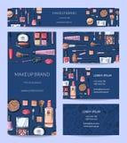Vektorskönhet eller uppsättning för makeupmärkesidentitet med banret vektor illustrationer