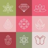 Vektorskönhet och brunnsortlinje logoer Royaltyfri Fotografi