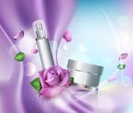Vektorskönhetsmedel skorrar på bokehbakgrund och rosor Beståndsdel fo stock illustrationer