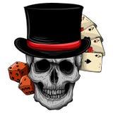 Vektorskalle med den bästa hatten och kasinoleken stock illustrationer