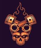 Vektorskalle med korsad pistonger och brand stock illustrationer