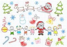 Vektorsketchs - Weihnachtsmann und Kinder Stockbild