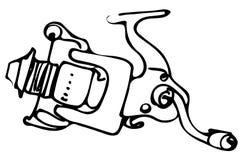 Vektorskizze der Schnellantwort Reelss fischend Lizenzfreies Stockbild