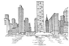 Vektorskizze von New- Yorkskylinen lizenzfreie abbildung