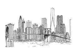 Vektorskizze von New- Yorkskylinen stock abbildung