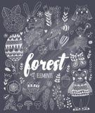 Vektorskogbeståndsdelar i barnslig stil för klotter royaltyfri illustrationer