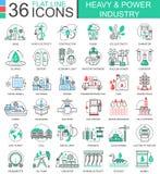 Vektorskurkrollen och linjen för lägenhet för maktbransch skisserar symboler för apps och rengöringsdukdesign Tung tekniskt avanc stock illustrationer