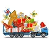 Vektorsläp med julgåvor Arkivbild