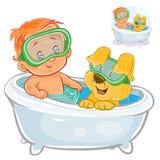 Vektorsmåbarnet i en simningcirkel och en dykningmaskering badar i badkar med hans hund Arkivfoto