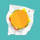 Vektorsmörgåsillustration Skadat och brutet begrepp Hamburgare med grönsallat, ost och tomater royaltyfri illustrationer