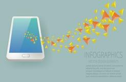 Vektorsmartphonedata överför infographic Fotografering för Bildbyråer