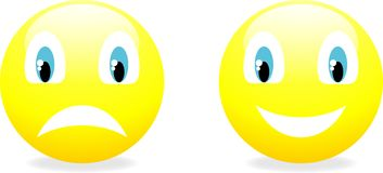 Vektorsmiley-Gelb Emoticon. Lizenzfreies Stockbild