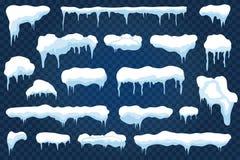 Vektorsnölock, snödrivor och snöflingor med istappar Snöig ramar för vinter med is royaltyfri illustrationer