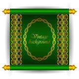 Vektorsnirkelbaner i kunglig lyxig marockansk arabisk stil Blom- modeller för guld- band på en grön bakgrund Arkivbilder