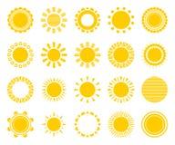 Vektorsolsymboler på den vita bakgrundsuppsättningen Stock Illustrationer