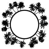 Vektorsommaraffisch som inramas med svarta palmträd på vit backg royaltyfri illustrationer