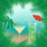 Vektorsommarbakgrund med palmträd, stranden, havet, coctailar inramade med gömma i handflatan filialer vektor illustrationer