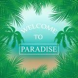 Vektorsommarbakgrund med palmträd, stranden, havet som inramas med, gömma i handflatan filialer, inskriftvälkomnande till Paradis stock illustrationer