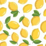 Vektorsommarmodell med citroner och blommor Arkivfoton