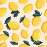 Vektorsommermuster mit Zitronen und Blumen Stockfoto