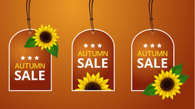 Vektorsonnenblumen-Preisschilds Stockfotografie
