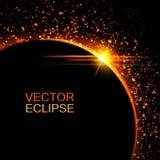 Vektorsonnenfinsternis Sun-Eklipse im Raumhintergrund Abstrakte Sonne nach dem Mond Vektoreklipsehintergrund Kosmischer Hintergru Lizenzfreies Stockbild