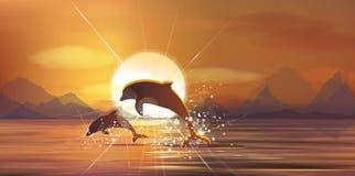 Vektorsonnenuntergangmeer und -delphine Lizenzfreies Stockfoto