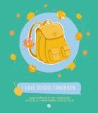 Vektorspaßkarikatur-Grußkarte Zurück zu Schule Stockfotografie