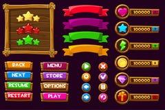 Vektorspiel ui Ausrüstung Schließen Sie Menü von GUI der grafischen Benutzeroberfläche ab, um 2D Spiele zu errichten Kann in den  lizenzfreie abbildung