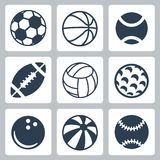 Vektorsport-Ballikonen eingestellt Stockfotografie