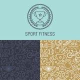 Vektorsportausweis und nahtloses Muster Stockbilder