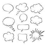 Vektorsprache-Blasenikonen skizze stock abbildung