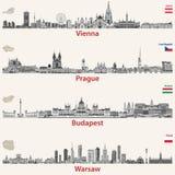 Vektorstadshorisonter av Wien, Prague, Budapest Royaltyfri Fotografi