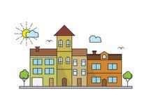 Vektorstadslandskapet i linjära stilbyggnader planlägger Royaltyfri Bild