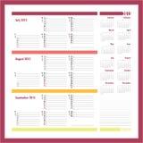 Vektorstadsplanerare för 20134 - tre månad kalender Royaltyfria Foton