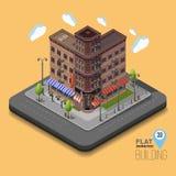 Vektorstadt mit isometrischen Altbauten und Cafés Stockfotografie
