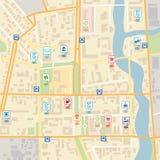 Vektorstadtplan mit Stiftstandortzeigern lizenzfreie abbildung