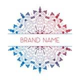 Vektorsteigungslogo Geometrische Mandala für Visitenkarte, Einladungen firmenzeichen Stockbild