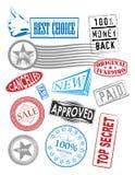Vektorstempel mit verschiedenen Marken Stockbild