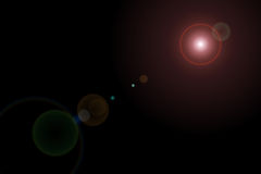 Vektorstern, Sonne mit Objektivaufflackern Stockbild