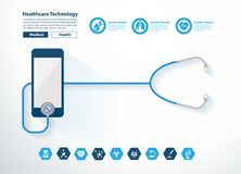 Vektorstethoskopherz mit kreativem Design des Smartphone Lizenzfreie Stockbilder