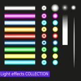 Vektorstrålkastare och uppsättning för ljusa effekter för neon som isoleras på genomskinlig och svart bakgrund vektor illustrationer